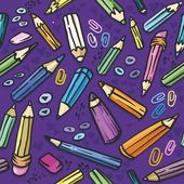 Vector illustration. Seamless texture with bright purple crayons — Stock Vector