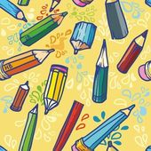 Vector illustration. Seamless texture with bright yellow pencils. — 图库矢量图片