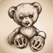 Teddy Bear Hand drawing. vector — 图库矢量图片