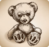 Teddy Bear Hand drawing. vector — ストックベクタ
