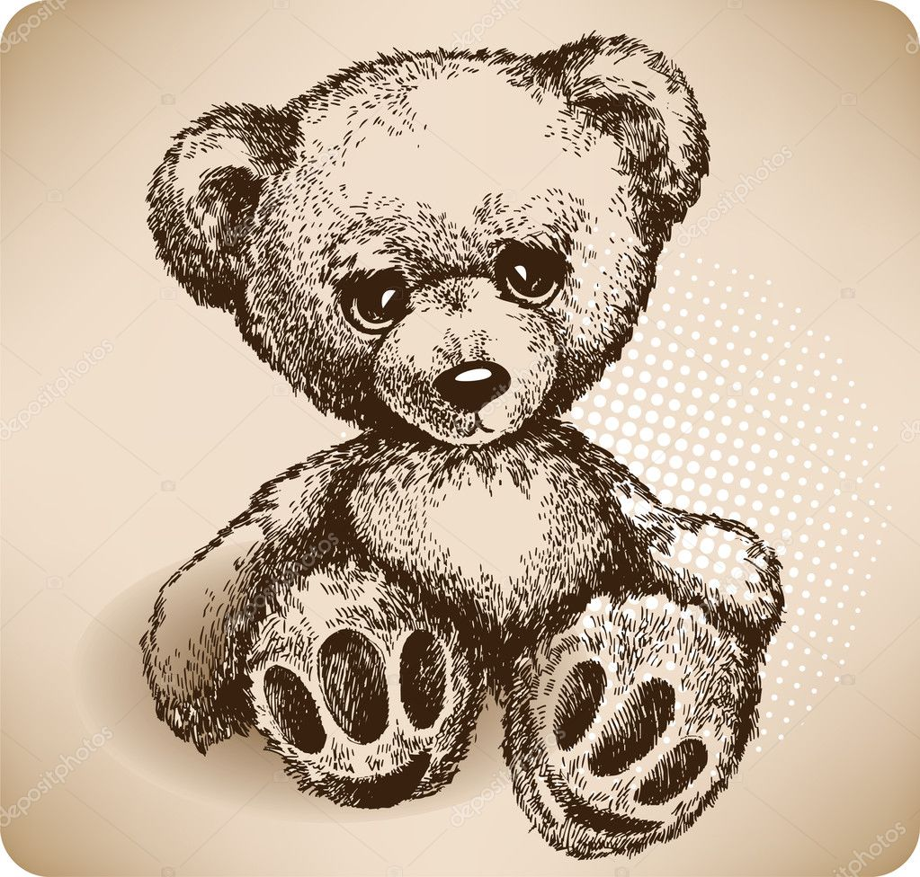 Teddy Bear Hand drawing. vector — Stock Vector #6826413
