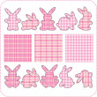 Royalty-Free Stock Vector Image: Ten pink rabbits. Beautiful elements for scrapbook, greeting cards