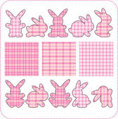 Ten pink rabbits. Beautiful elements for scrapbook, greeting cards — Stock Vector