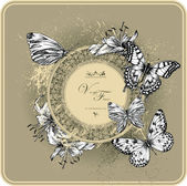 Vintage frame with blooming lilies and butterflies, hand drawing. — Stock Vector