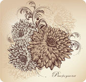 Floral background with blooming chrysanthemums, hand drawing. — Stock Vector