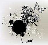 与墨点和飞行的蝴蝶背景. — 图库矢量图片