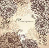 Floral background with blooming chrysanthemums, hand drawing. Vector. — Stock Vector