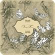 Vintage template with butterflies and blooming lilies. Vector illustration. - Stock Vector
