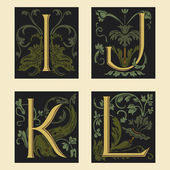 Sixteenth-Century alphabet I J K L — Stock Vector