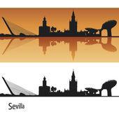 Sevilla silhuett i orange bakgrund — Stockvektor