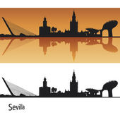 Sevilla skyline in oranje achtergrond — Stockvector