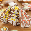 Christmas trees made with gingerbread - Stock Photo