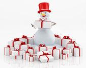 ギフト用の箱と雪だるま — ストック写真