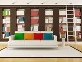 本棚と茶色のリビング ルーム — ストック写真