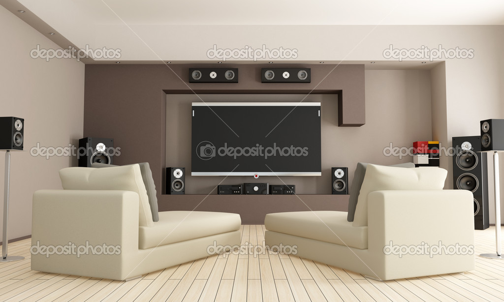 Elegant living room with home theatre system - rendering — Stock Photo #7123040