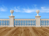 Empty terrace with balustrade — Stockfoto