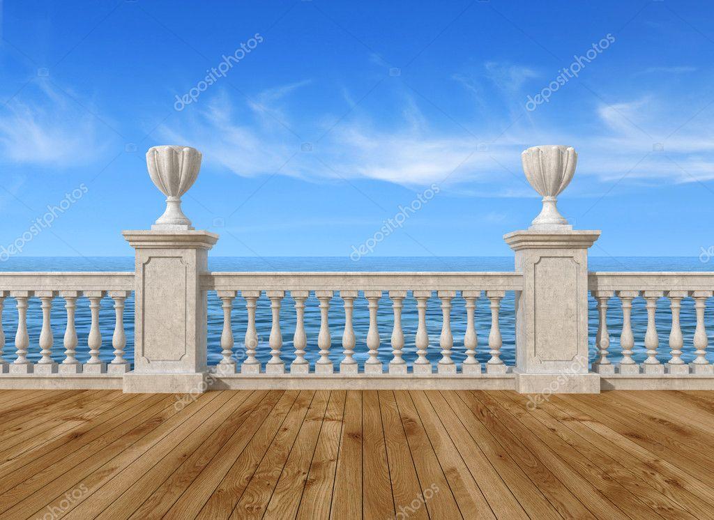 vide terrasse avec balustrade photographie archideaphoto 7400067. Black Bedroom Furniture Sets. Home Design Ideas