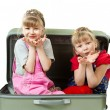 Little sisters and a suitcase - Stock Photo