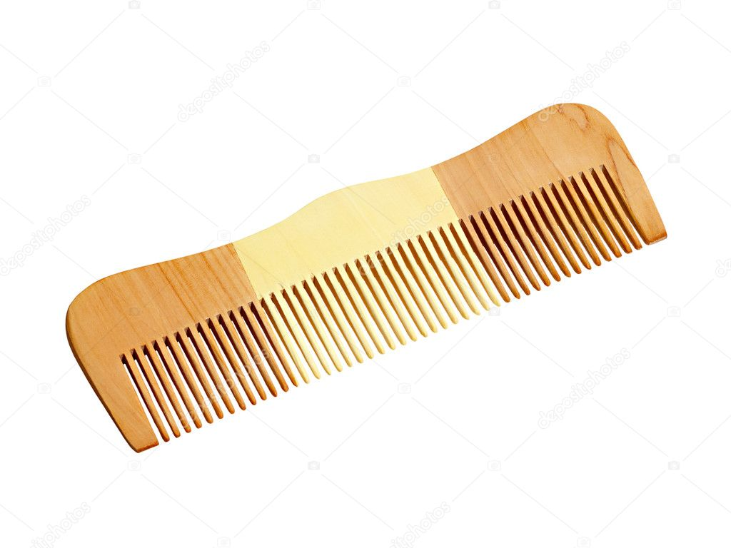 Wooden comb for hair isolated on white background  Stock Photo #7127948