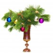 Pine branches with New toys in a vase — Stock Photo #7594502