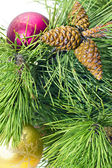 Pine branches with New toys — Stock Photo