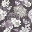 Stockvector : Seamless pattern with flowers and butterfly. Floral background.