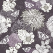 Seamless pattern with flowers and butterfly. Floral background. — Векторная иллюстрация