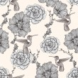 Stok Vektör: Seamless pattern with flowers and birds. Floral background.