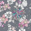 Seamless pattern with flowers. Floral background. — Stok Vektör