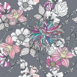 Seamless pattern with flowers. Floral background. — Image vectorielle
