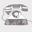 Background with retro telephone. Vector vintage illustration. Te — Image vectorielle