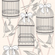 Seamless pattern with birdcages, flowers and birds. Floral and s — Imagens vectoriais em stock