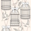 Stockvector : Seamless pattern with birdcages, flowers and birds. Floral and s