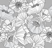 シームレスな花柄。ケシの花の背景. — ストックベクタ