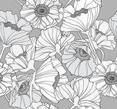 Seamless floral pattern. Background with poppy flowers. — Stok Vektör