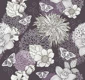 花と蝶とのシームレスなパターン。花の背景. — ストックベクタ