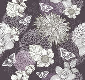 Seamless pattern with flowers and butterfly. Floral background. — ストックベクタ