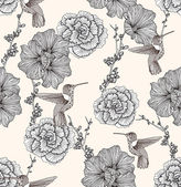 花や鳥とのシームレスなパターン。花の背景. — ストックベクタ