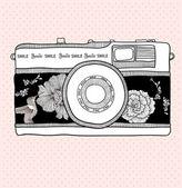 背景とレトロなカメラ。ベクトル イラスト。写真カメラ — ストックベクタ