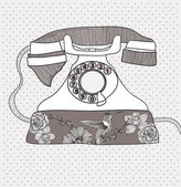 Background with retro telephone. Vector vintage illustration. Te — Vettoriale Stock