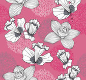 Seamless pattern with flowers. Floral background. — Stock Vector