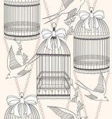 Naadloze patroon met vogelkooien, bloemen en vogels. bloemen en s — Stockvector
