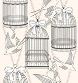Seamless pattern with birdcages, flowers and birds. Floral and s — Stok Vektör