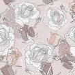 Floral pattern. Seamless flower background with roses. — Imagen vectorial