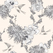 Stok Vektör: Seamless floral pattern Seamless pattern with flowers and birds.