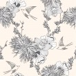 Seamless floral pattern Seamless pattern with flowers and birds. — Vettoriale Stock #7571712