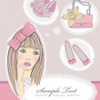 Fashion girl dreaming about bags and shoes. Vector illustration. — Stock Vector