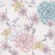 Stok Vektör: Seamless floral pattern. Seamless pattern with flowers and birds