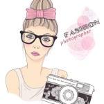 Fashion girl photographer vector background. Retro camera background. — Stock Vector