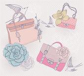 ファッション イラスト。ファッショナブルなバッグと背景 — ストックベクタ